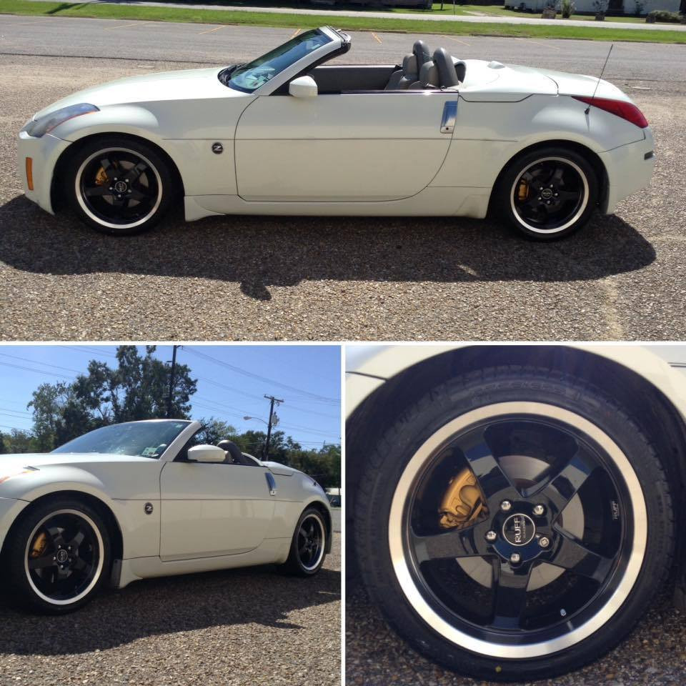 White Nissan Convertible with 18 inch Ruff Black Wheels