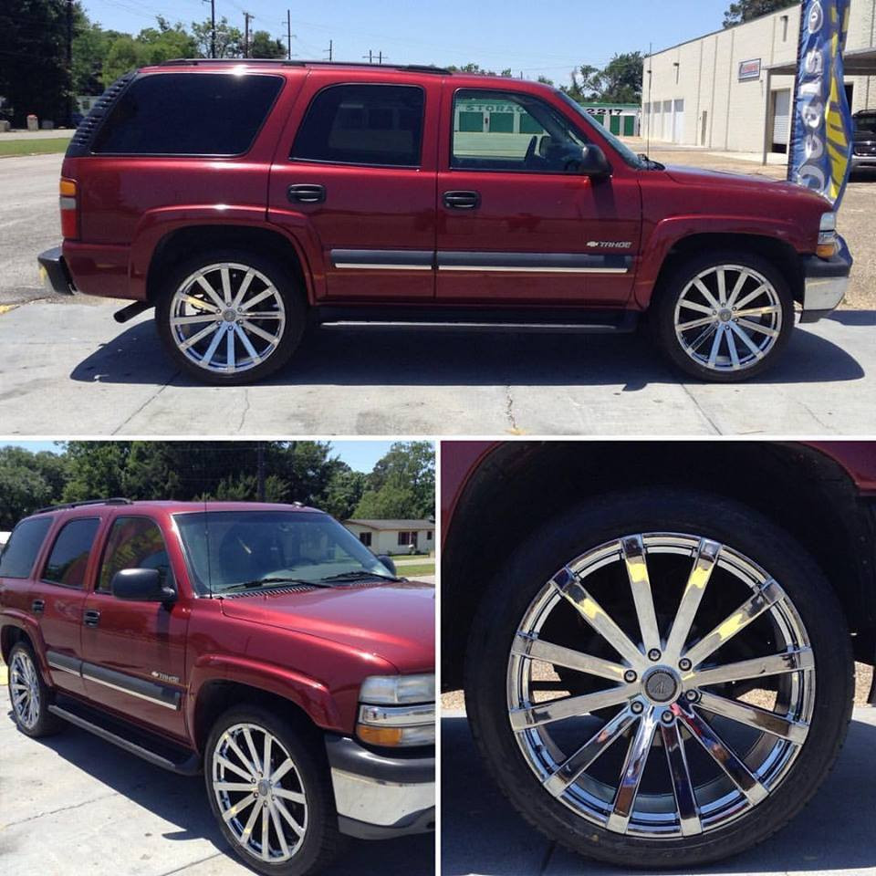 "2003 Red Chevrolet Tahoe with 24"" Velocity Chrome Wheels"